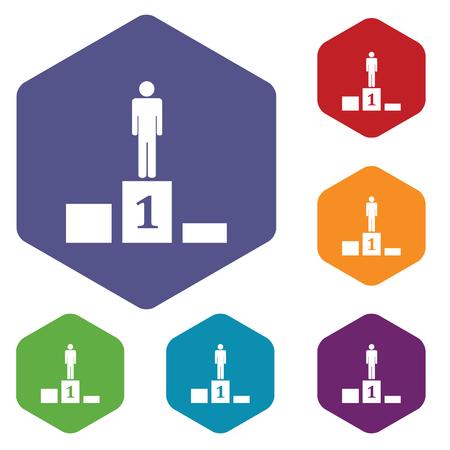 achievement clip art: Pedestal hexagon icon set Illustration