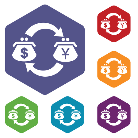 fondos violeta: D�lar-Yen icono intercambio hexagonal conjunto Vectores