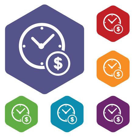 fondos violeta: Tiempo de dinero icono conjunto hexagonal Vectores