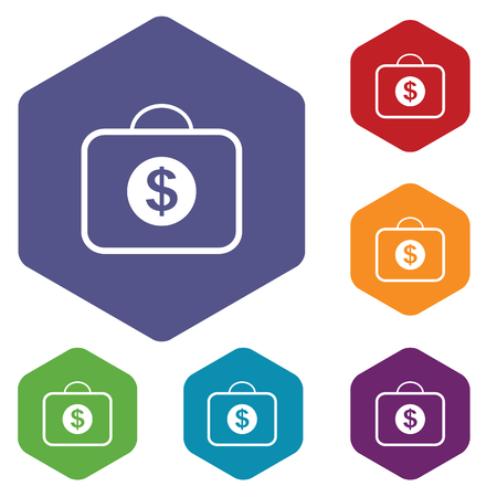 fondos violeta: Bolsa Dólar hexágono icono conjunto