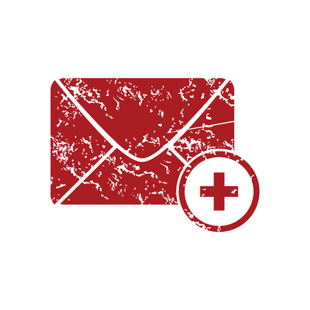 grungy email: Add letter red grunge icon