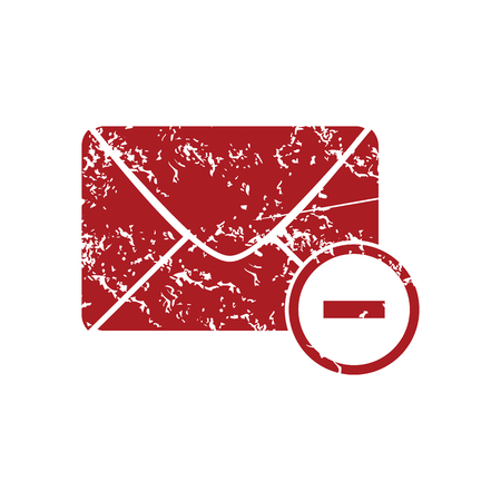 grungy email: Remove letter red grunge icon