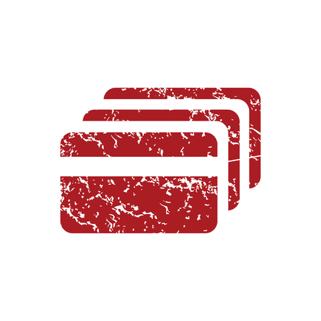 red grunge: Credit card red grunge icon