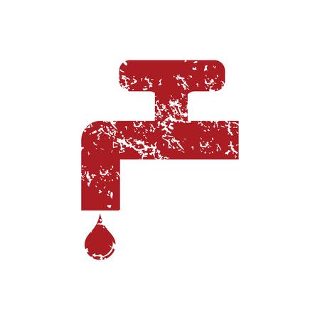 sanitary engineering: Watertap red grunge icon