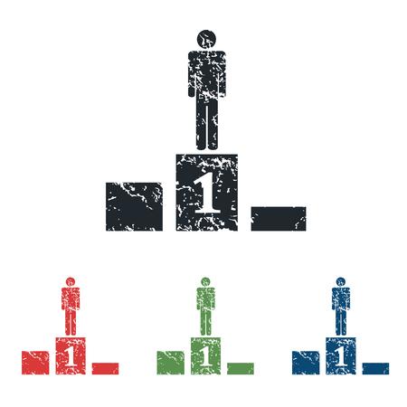 achievement clip art: Pedestal grunge icon set