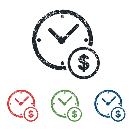 time is money: Time money grunge icon set