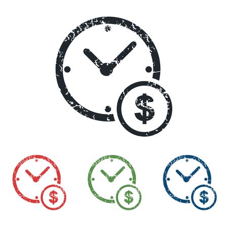 Time money grunge icon set