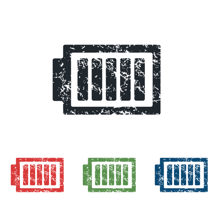 charged: Charged battery grunge icon set