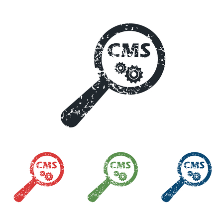 cms: CMS search grunge icon set Illustration