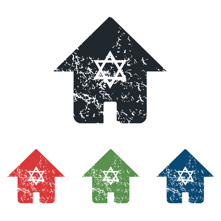 israel jerusalem: Jewish house grunge icon set