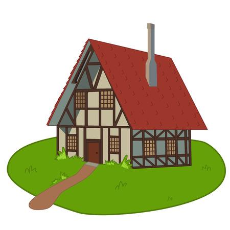 grass plot: House on lawn Illustration