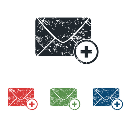 grungy email: Add letter grunge icon set