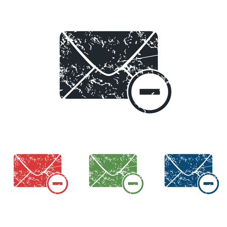 grungy email: Remove letter grunge icon set
