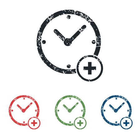 add: Add time grunge icon set