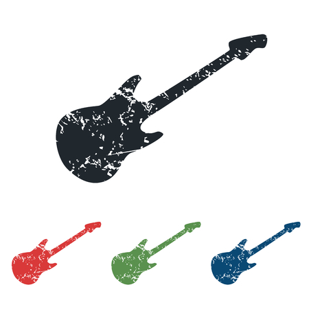 lead guitar: Guitar grunge icon set
