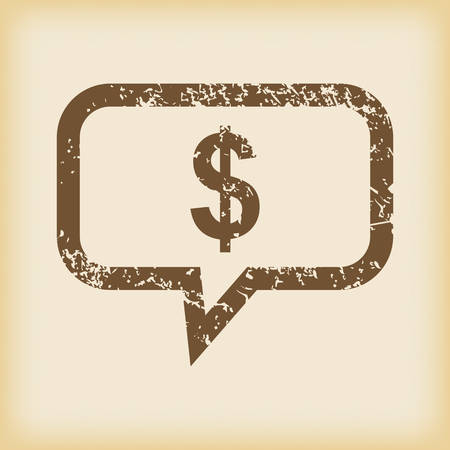 grungy: Grungy dollar message icon