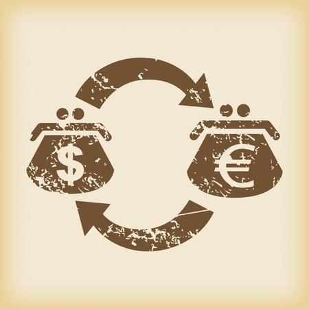 grungy: Grungy dollar-euro exchange icon Illustration