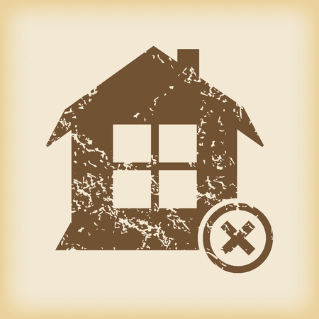 grungy: Grungy remove house icon Illustration