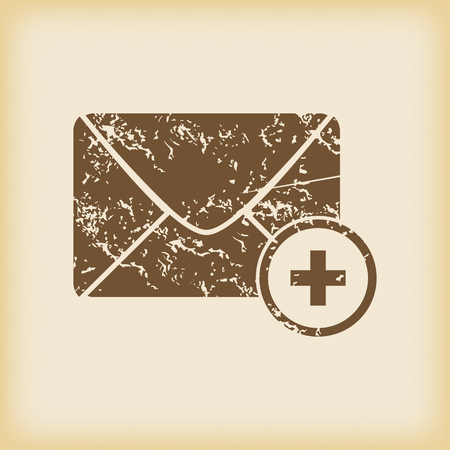 grungy email: Grungy add letter icon Illustration