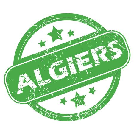 algiers: Algiers green stamp Illustration