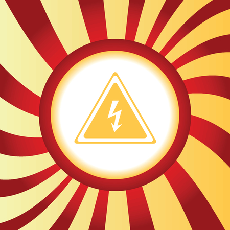 voltage sign: Yellow icon with image of high voltage sign, in the middle of abstract background