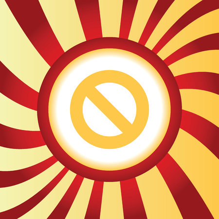no image: Yellow icon with image of NO sign, in the middle of abstract background Illustration