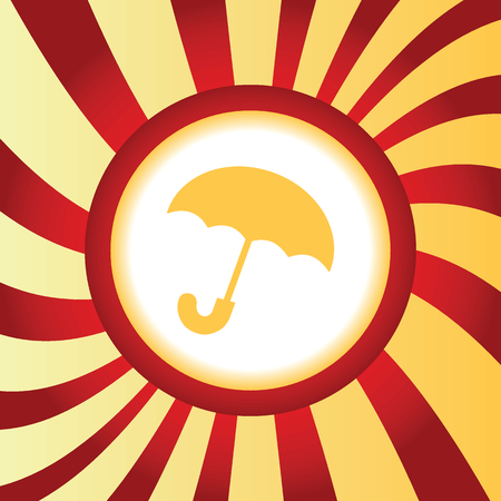 cloudburst: Yellow icon with image of open umbrella, in the middle of abstract background