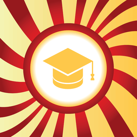 abstract academic: Yellow icon with image of square academic cap, in the middle of abstract background Illustration