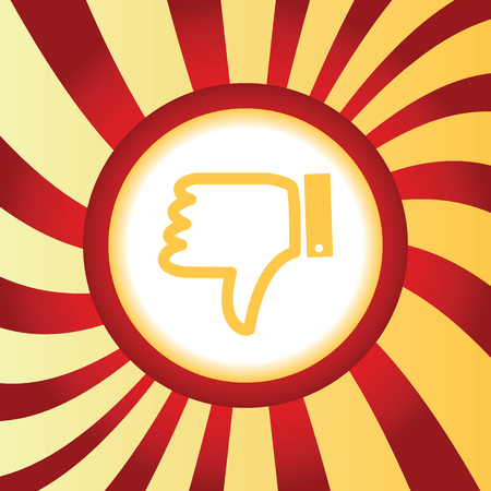 disapproval: Yellow icon with image of dislike sign, in the middle of abstract background Illustration
