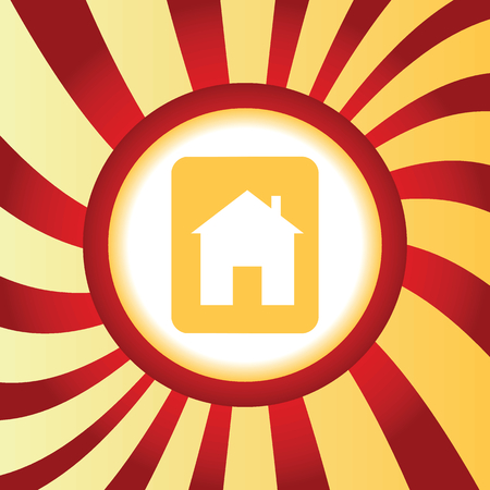 housetop: Yellow icon with image of sign with house, in the middle of abstract background