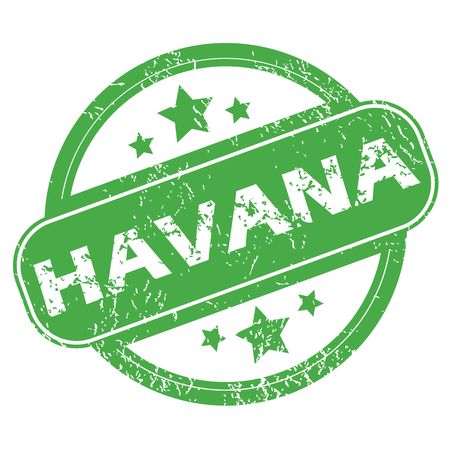 havana cuba: Havana green stamp Illustration
