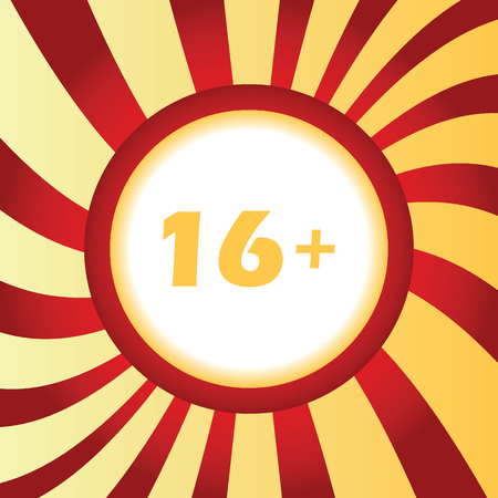 number 16: Age restriction abstract icon