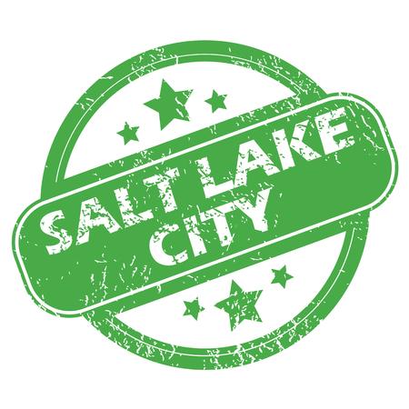 salt lake city: Salt Lake City green stamp Illustration