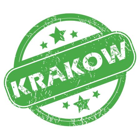krakow: Krakow green stamp Illustration