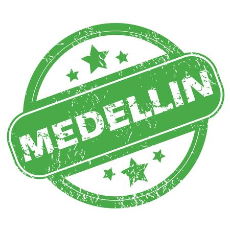 medellin: Medellin green stamp Illustration