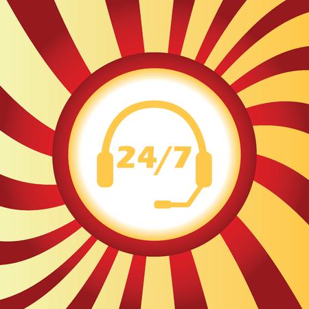 ヘッドセットと本文 24 7、あたりの抽象的な背景の真ん中に黄色のアイコン