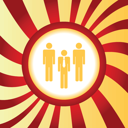 three person: Yellow icon with image of three person figures, in the middle of abstract background