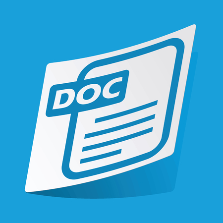 3 d illustration: DOC file sticker