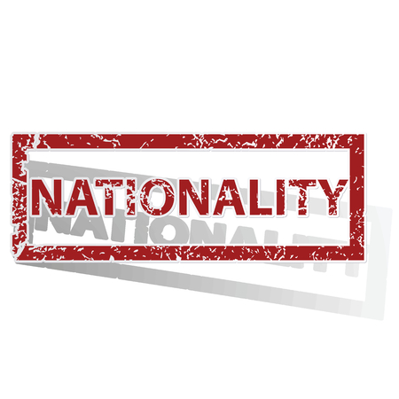 nationality: NATIONALITY outlined stamp Illustration