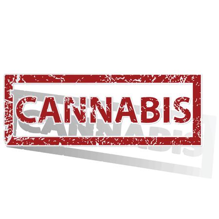 cannabis: CANNABIS outlined stamp