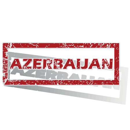 outlined: Azerbaijan outlined stamp Illustration