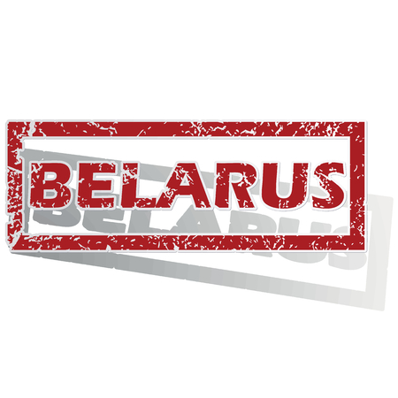 outlined: Belarus outlined stamp Illustration