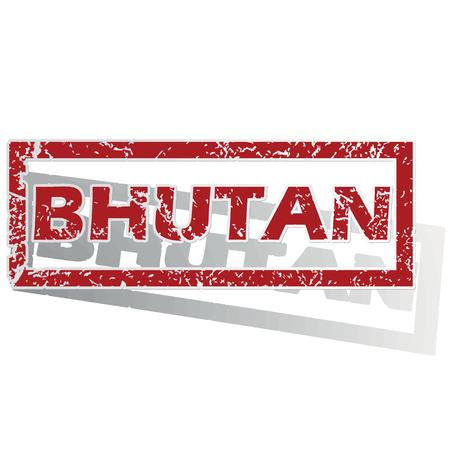 bhutan: Bhutan geschetst stempel
