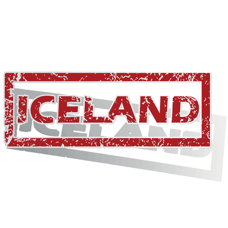 outlined: Iceland outlined stamp Illustration