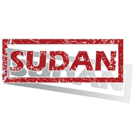 outlined: Sudan outlined stamp Illustration