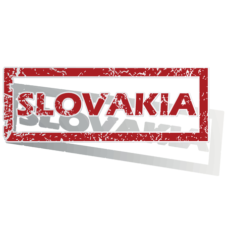 outlined: Slovakia outlined stamp Illustration