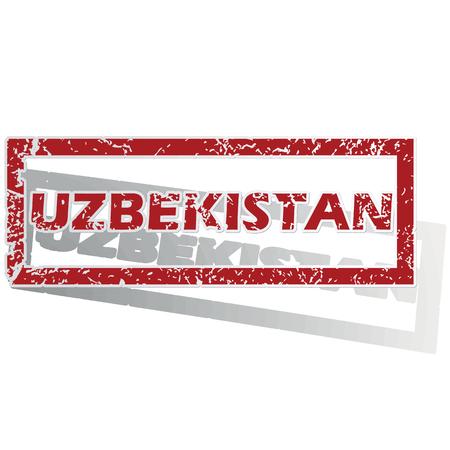 uzbekistan: Uzbekistan outlined stamp Illustration
