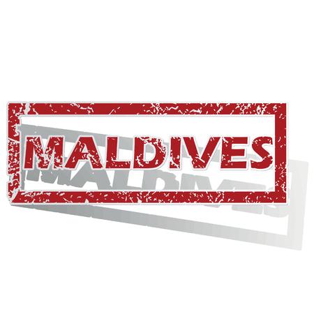 is outlined: Maldives outlined stamp Illustration