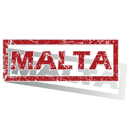 outlined: Malta outlined stamp Illustration