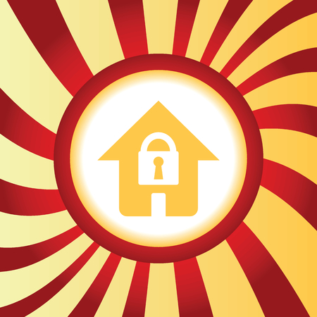 secure site: Locked house abstract icon Illustration